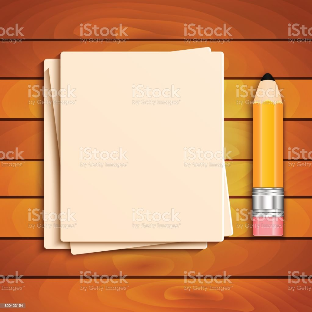 Pencil and a stack of paper sheets on a wooden table vector art illustration