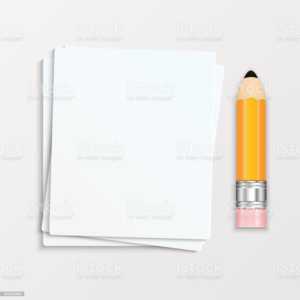 Pencil and a stack of paper sheets vector art illustration
