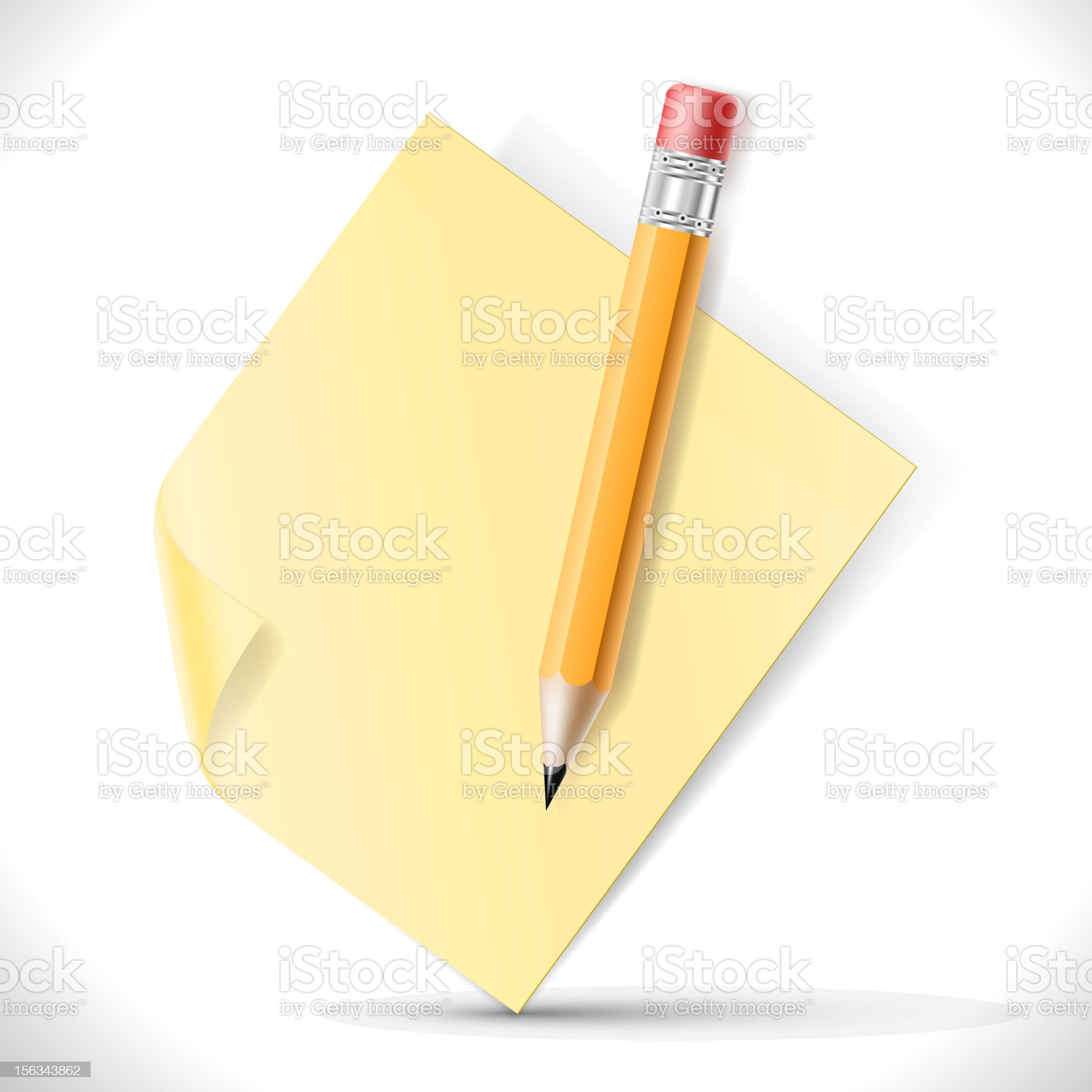 Pencil and adhesive paper royalty-free stock vector art