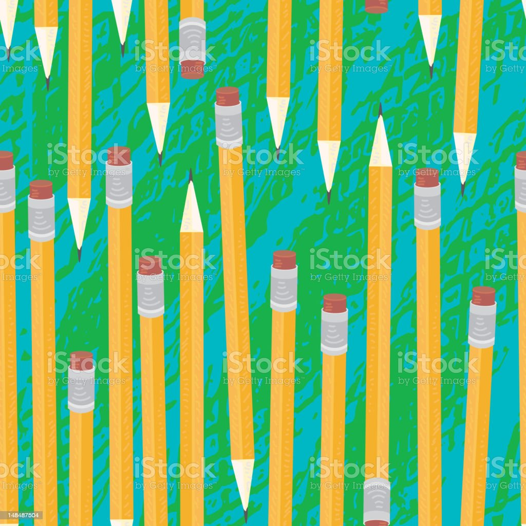 Pencil and eraser seamless background vector art illustration