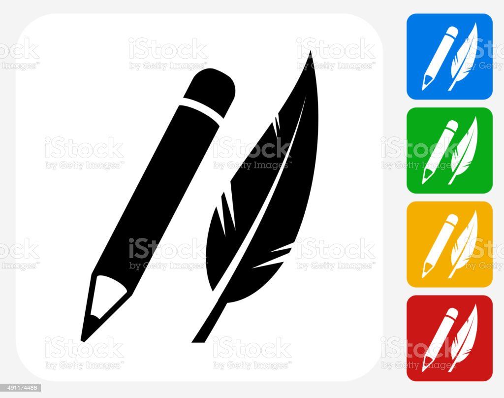 Pencil and Feather Icon Flat Graphic Design vector art illustration