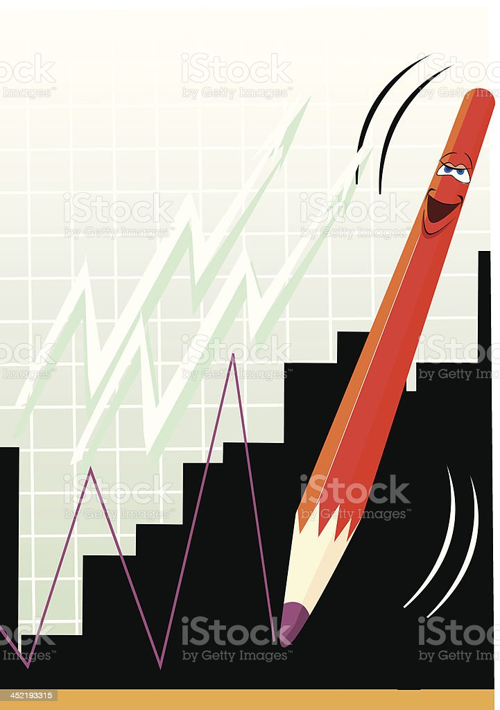 Pencil and graph royalty-free stock vector art