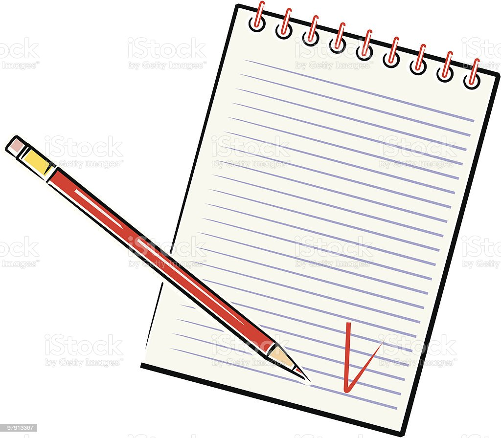 Pencil and Notebook vector art illustration