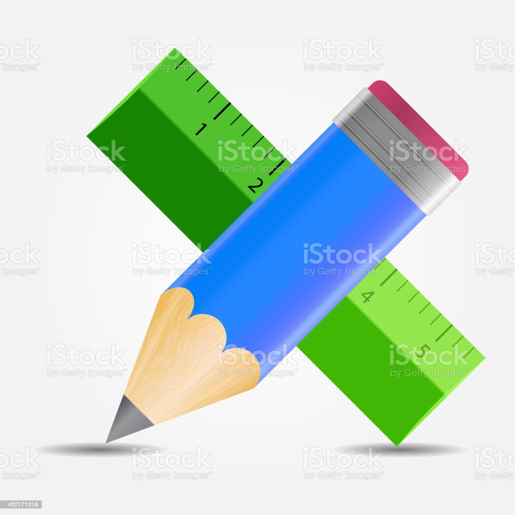 Pencil and ruler icon vector illustration royalty-free stock vector art