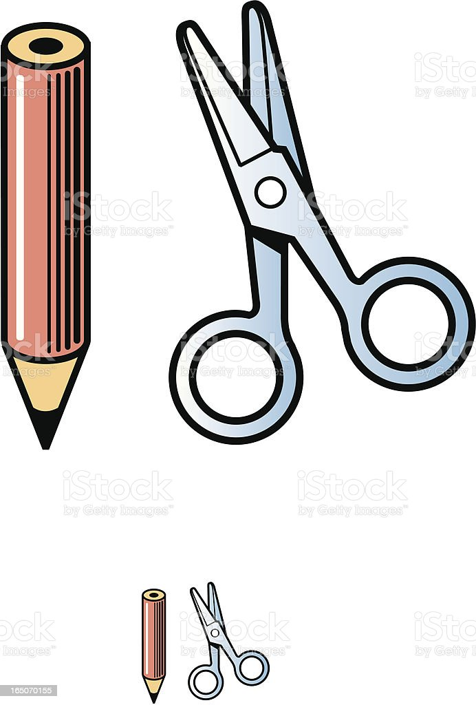 Pencil and scissors vector art illustration