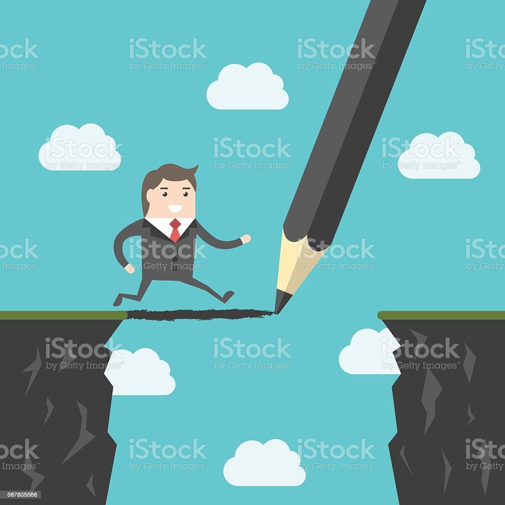 Pencil, bridge and man vector art illustration