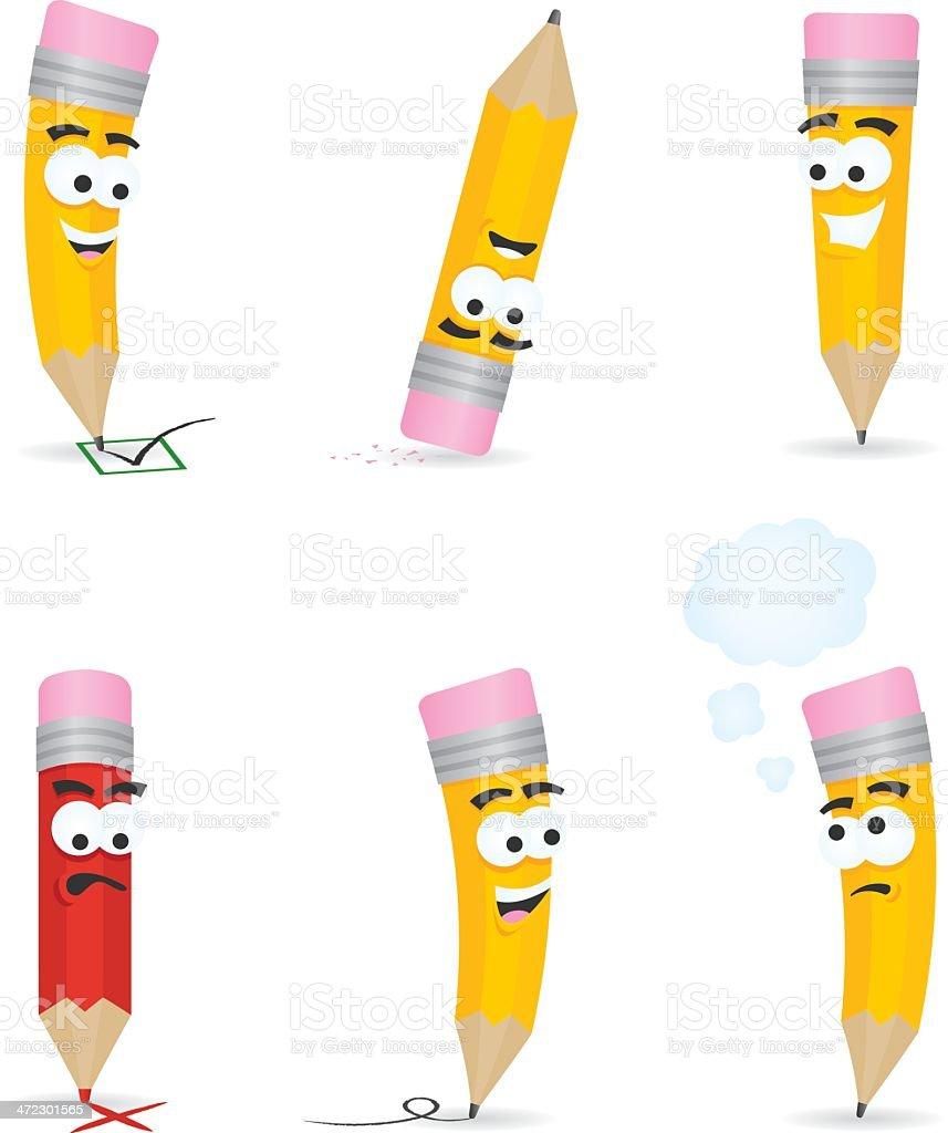 Pencil Cartoons vector art illustration