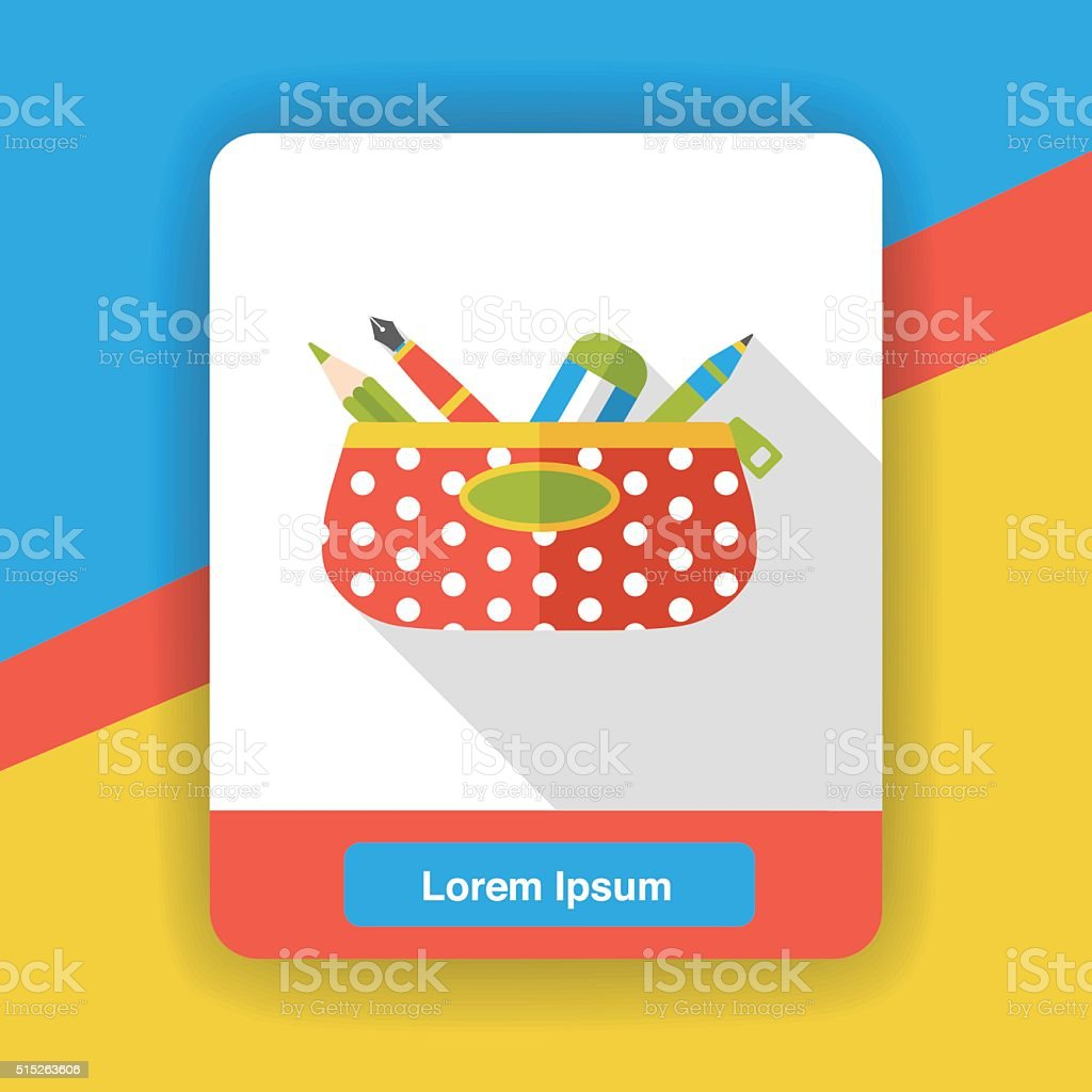 pencil case flat icon vector art illustration