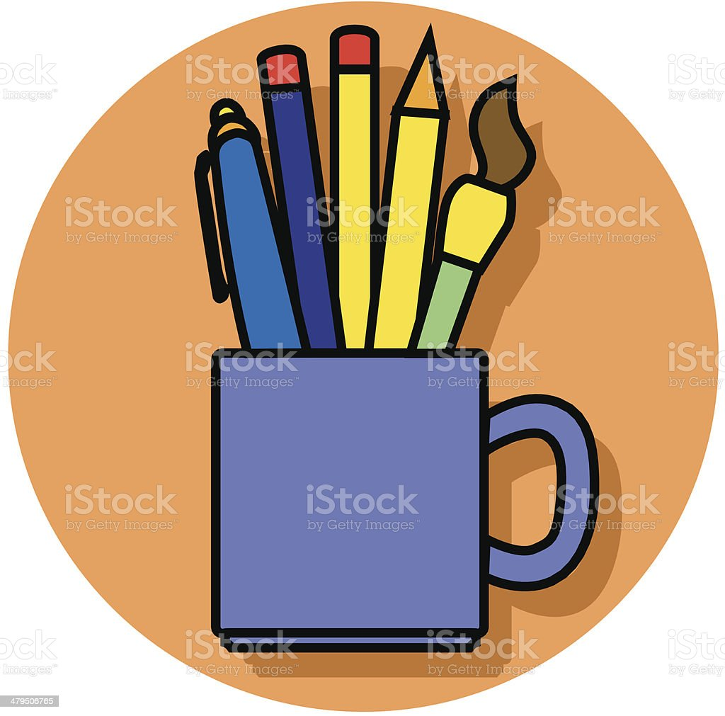 pencil cup icon vector art illustration