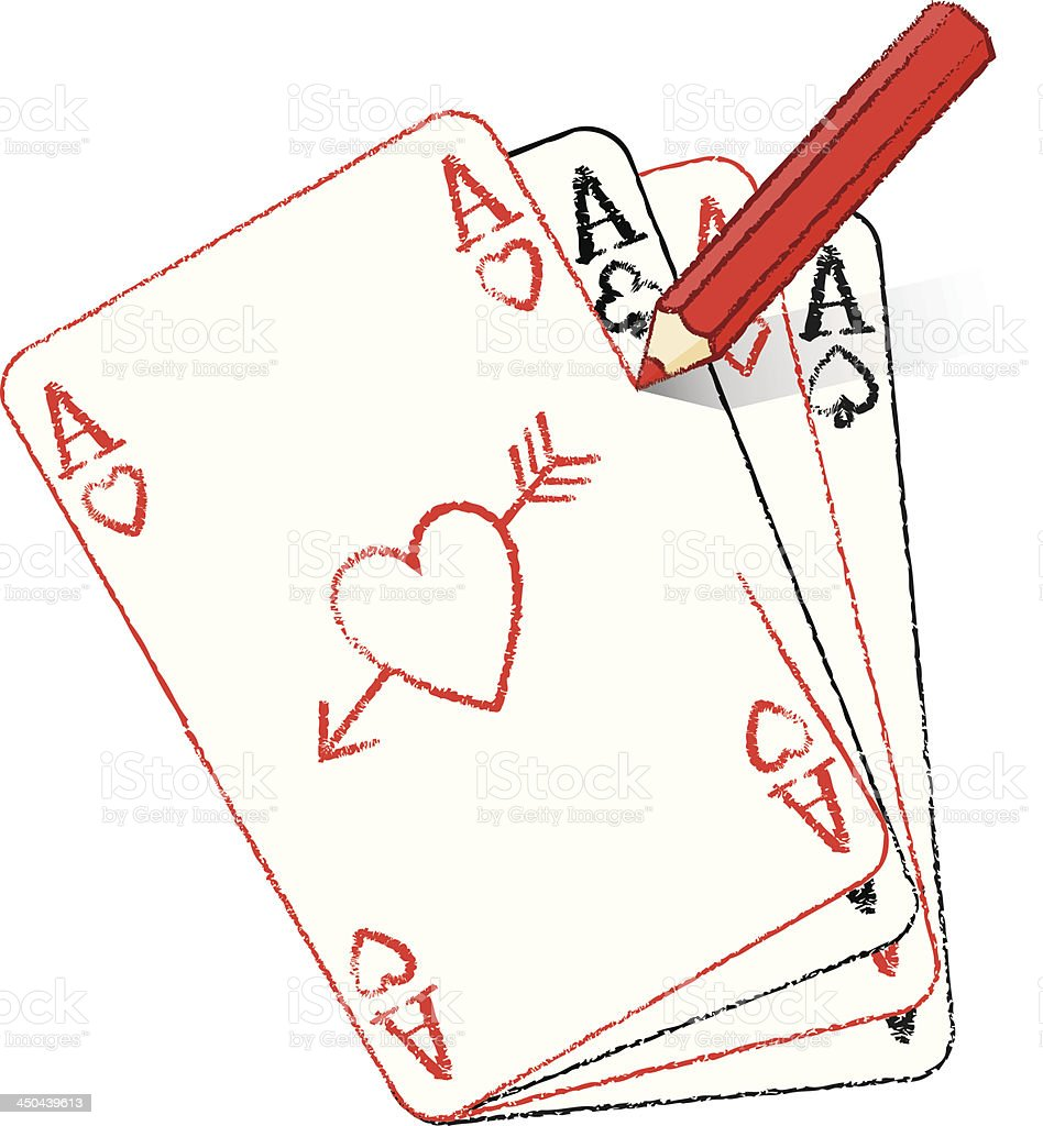 Pencil Drawing Ace of Hearts fanned cards with cupid's arrow royalty-free stock vector art