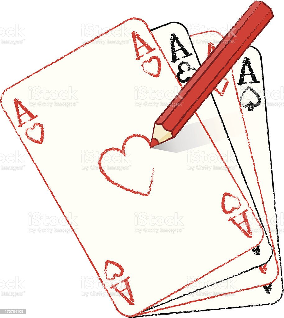 Pencil Drawing Ace of Hearts on Playing Card Fan royalty-free stock vector art