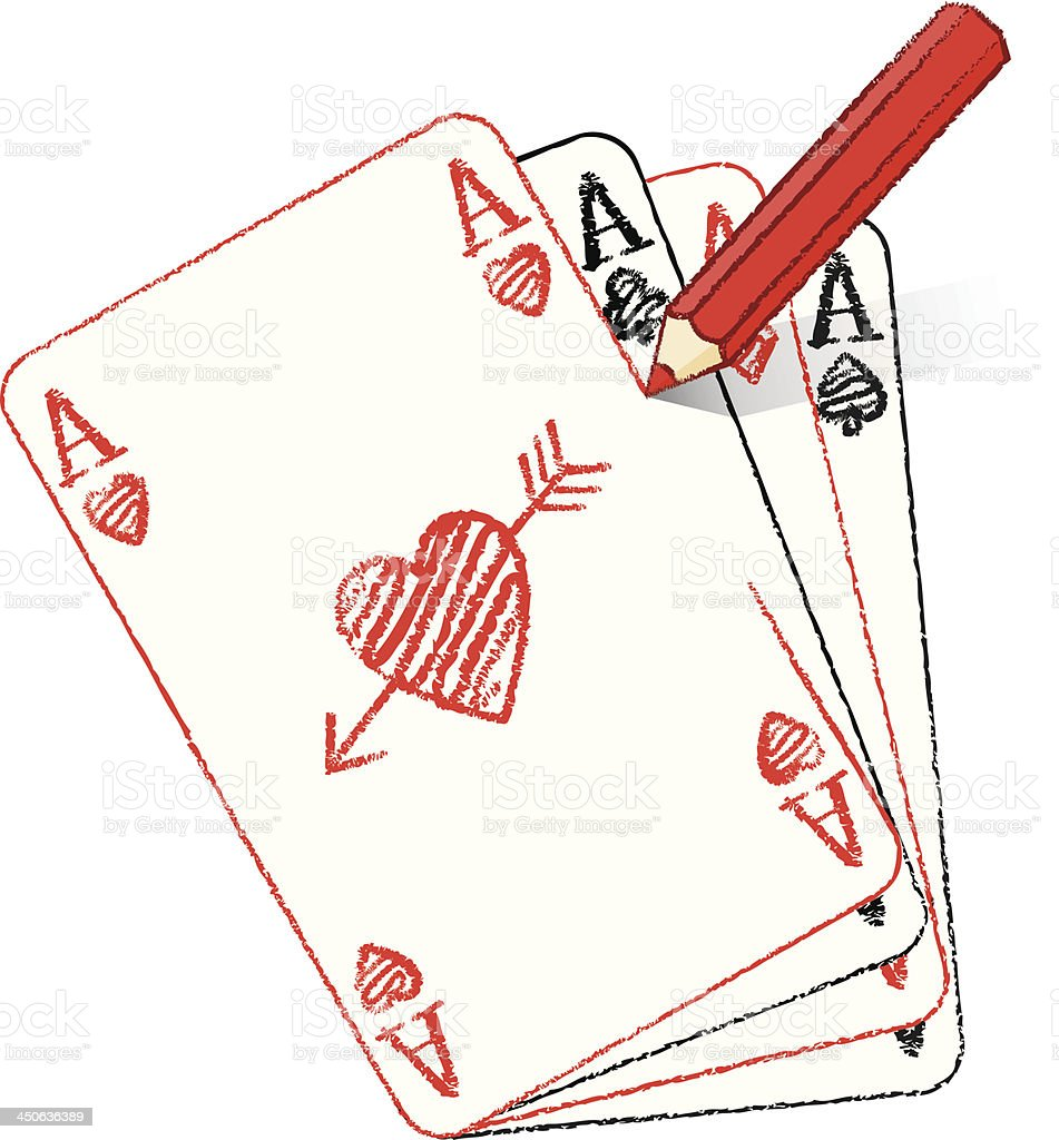 Pencil Drawing Ace of Hearts with cupid's arrow royalty-free stock vector art