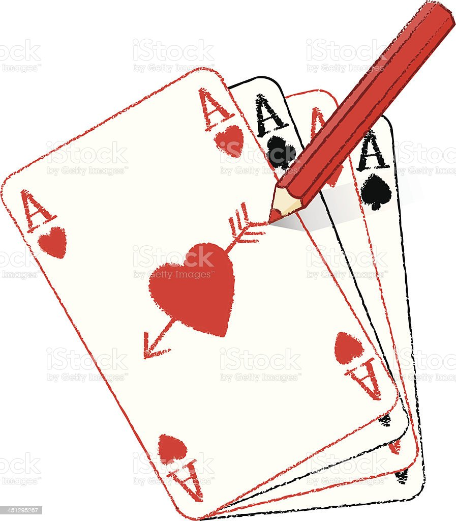 Pencil Drawing Filled Ace of Hearts and fanned cards royalty-free stock vector art