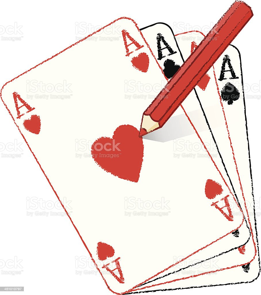 Pencil Drawing Filled Ace of Hearts on Fanned Playing Cards royalty-free stock vector art