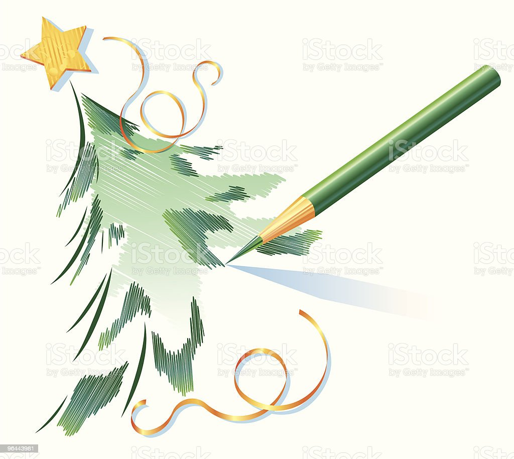 Pencil drawing of a Christmas tree royalty-free stock vector art