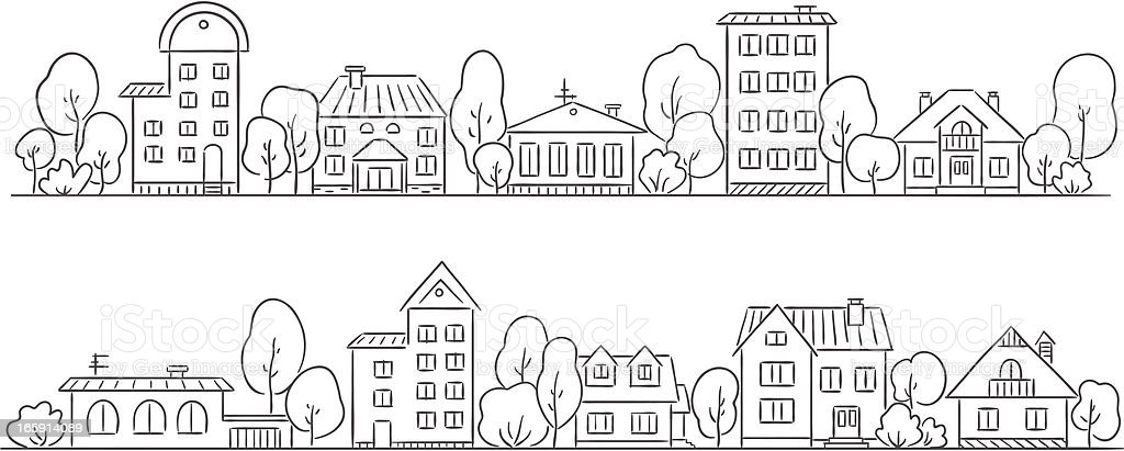 A pencil drawing of a street with houses vector art illustration