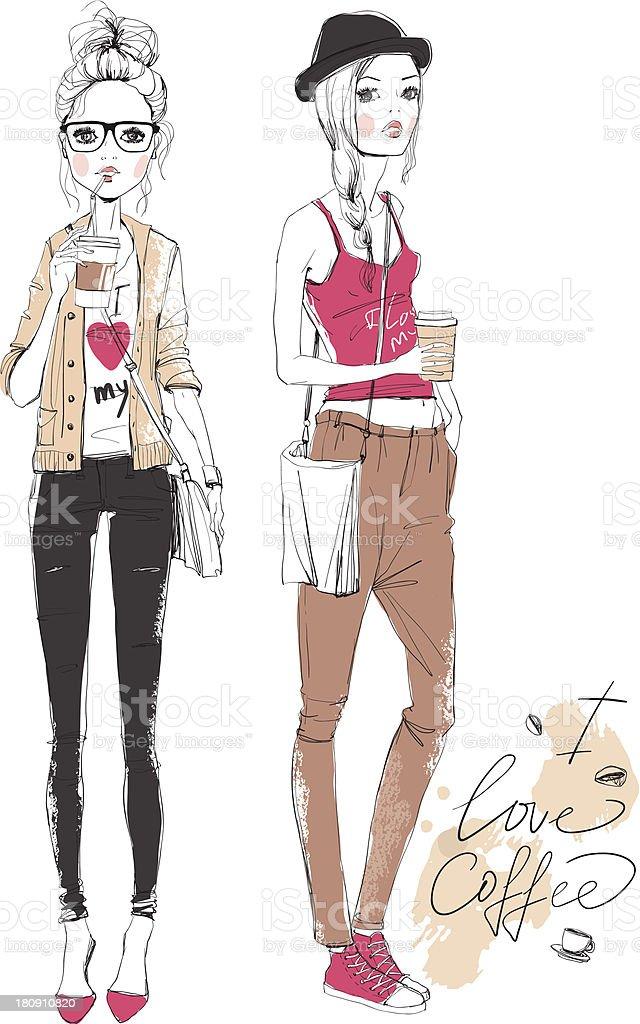 Pencil drawing of two fashionable girls drinking coffee royalty-free stock vector art