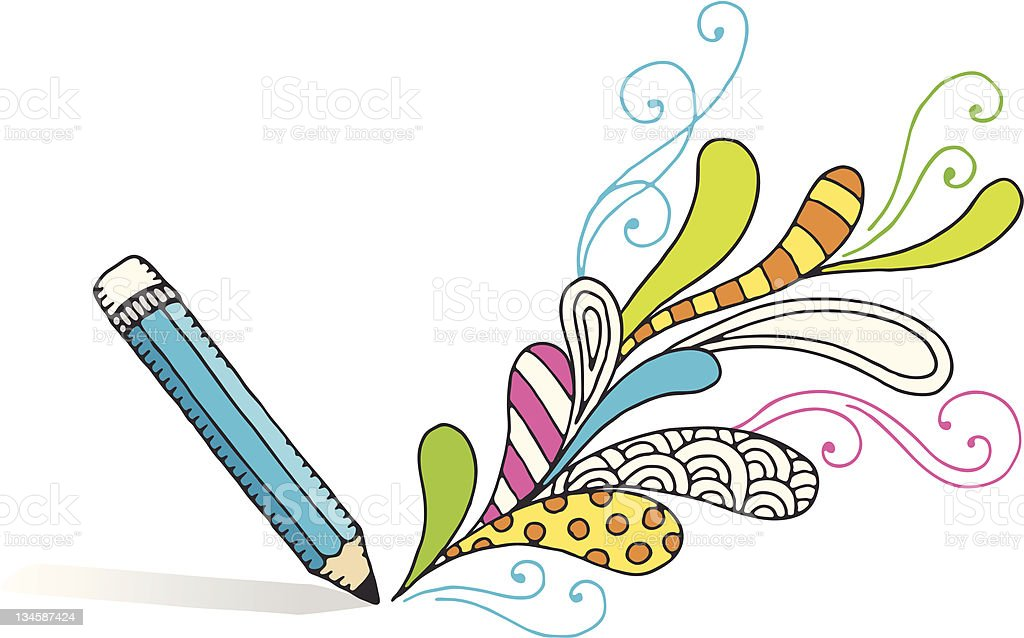 Pencil Drawing Swirls royalty-free stock vector art