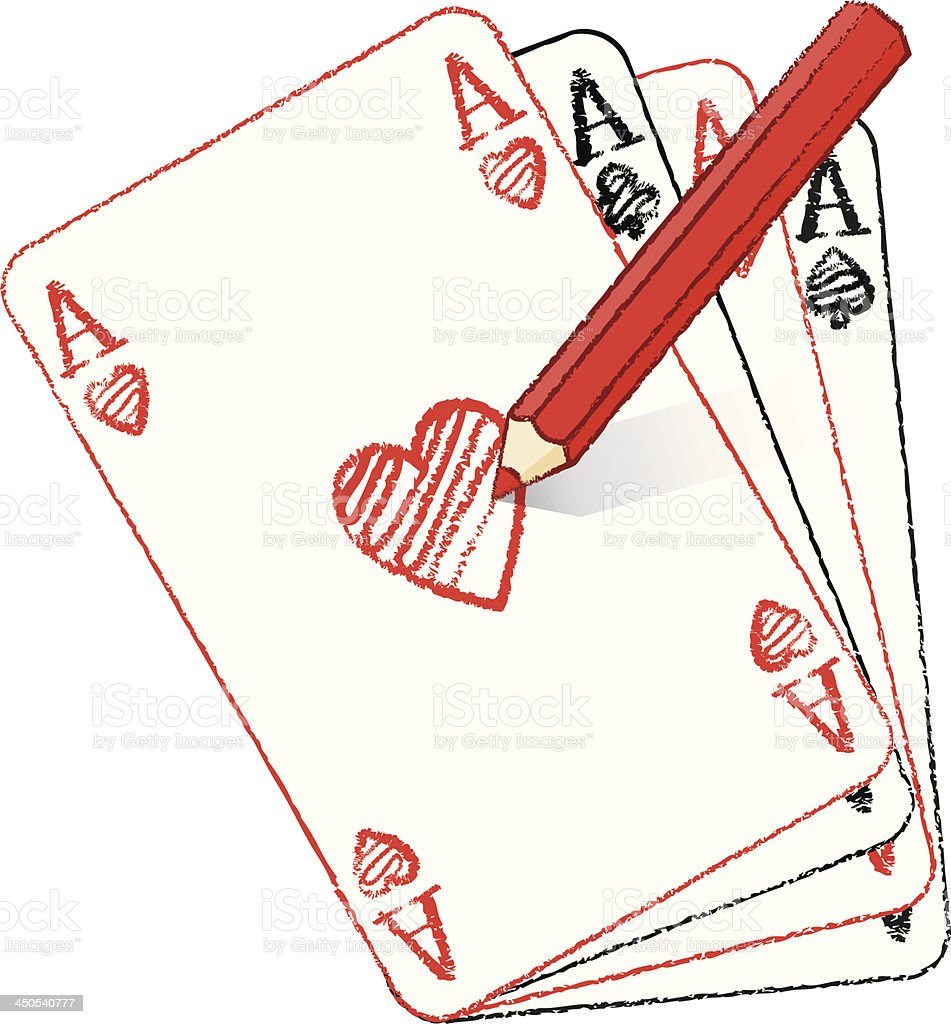 Pencil Drawing Various Ace of Hearts on Fanned Cards royalty-free stock vector art