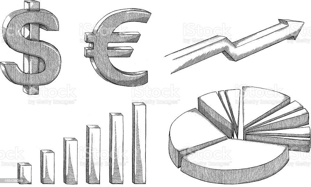 Pencil drawn 3D financial symbols vector art illustration