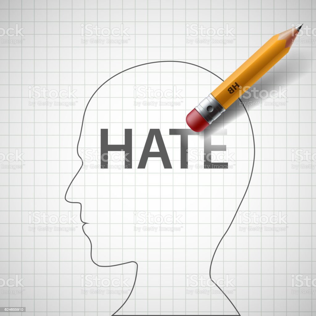 Pencil erases in the human head the word hate. vector art illustration