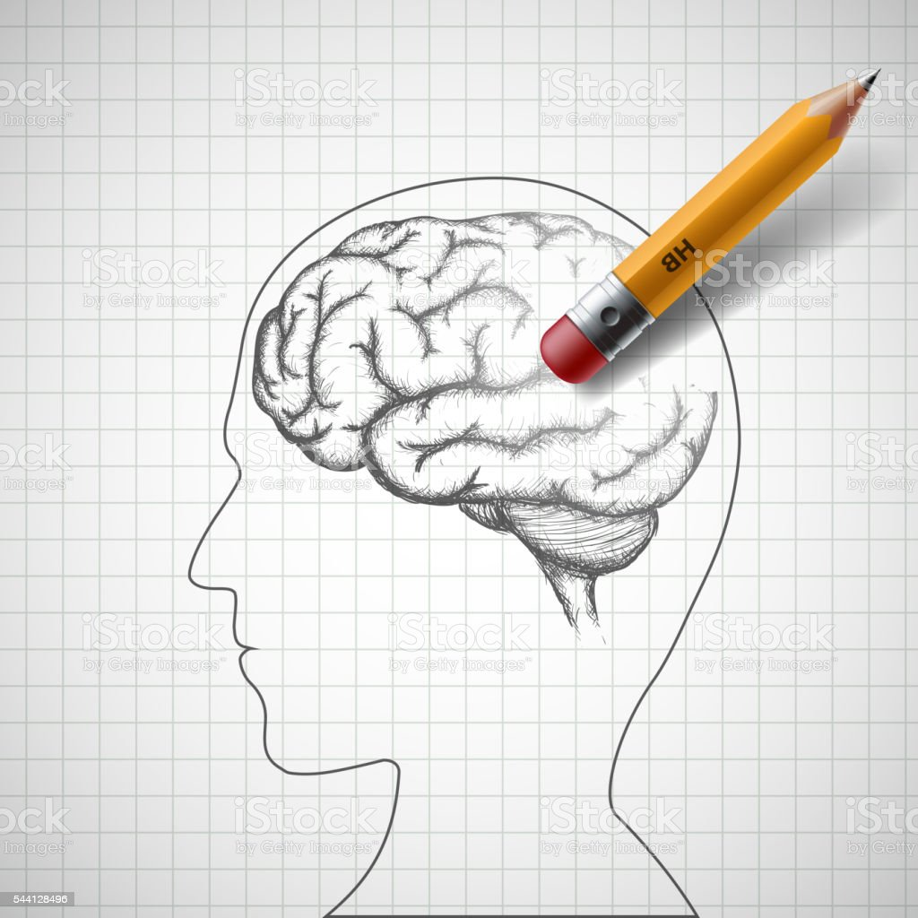 Pencil erases the human brain. Alzheimer disease. vector art illustration