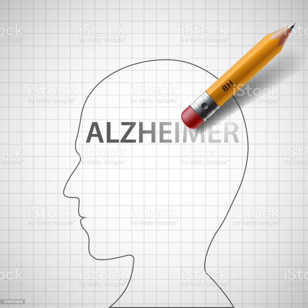 Pencil erases the word Alzheimer in the human head. vector art illustration