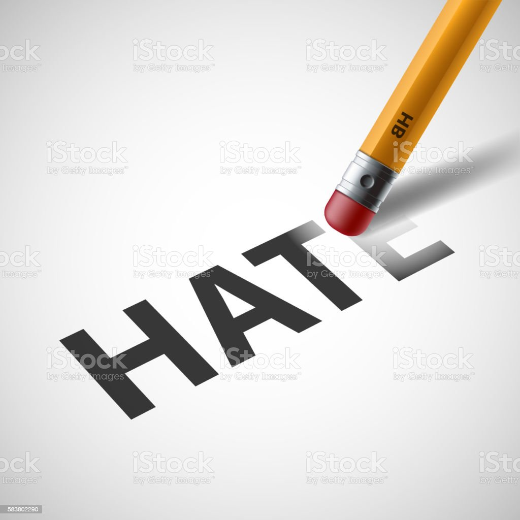 Pencil erases the word hate on paper. vector art illustration