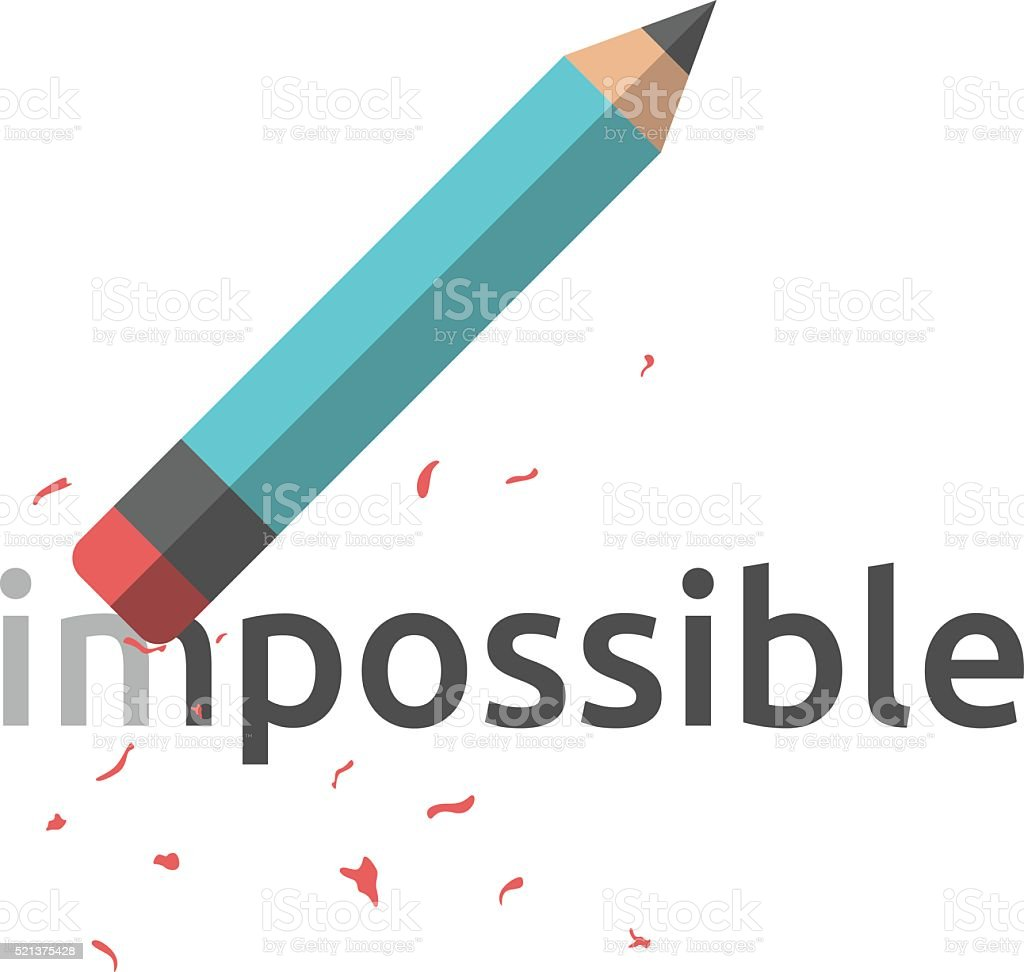 Pencil erasing word impossible vector art illustration