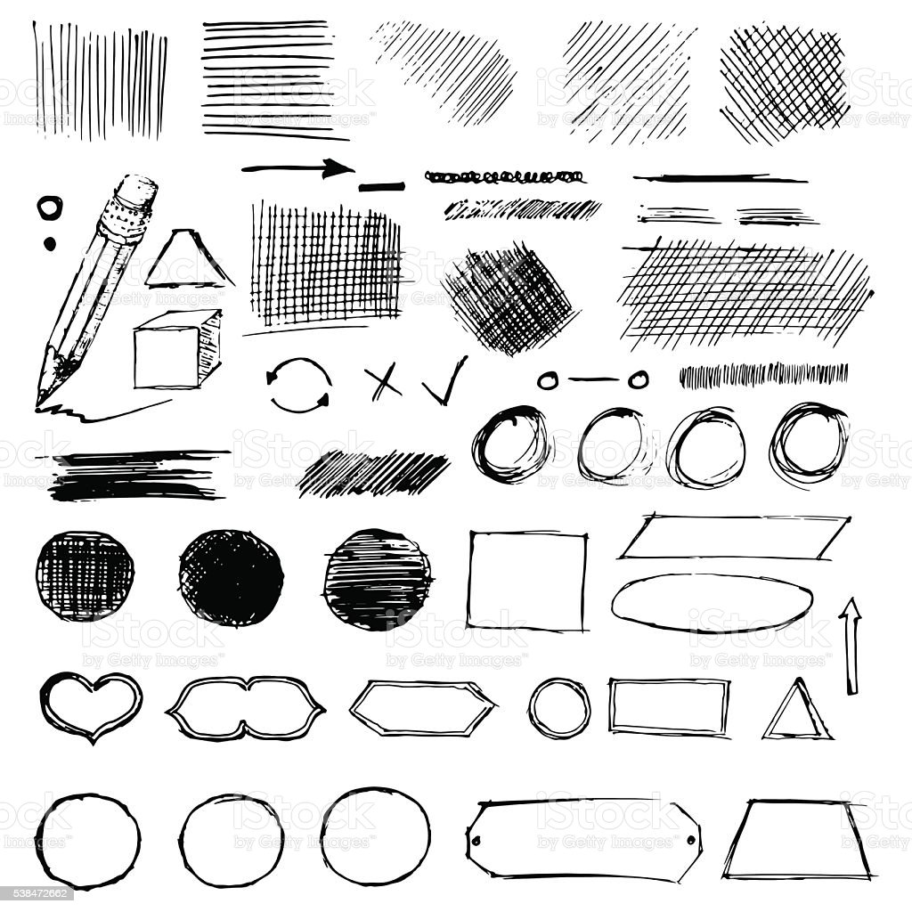 Pencil frame sketches. Hand drawn scribble shapes vector art illustration