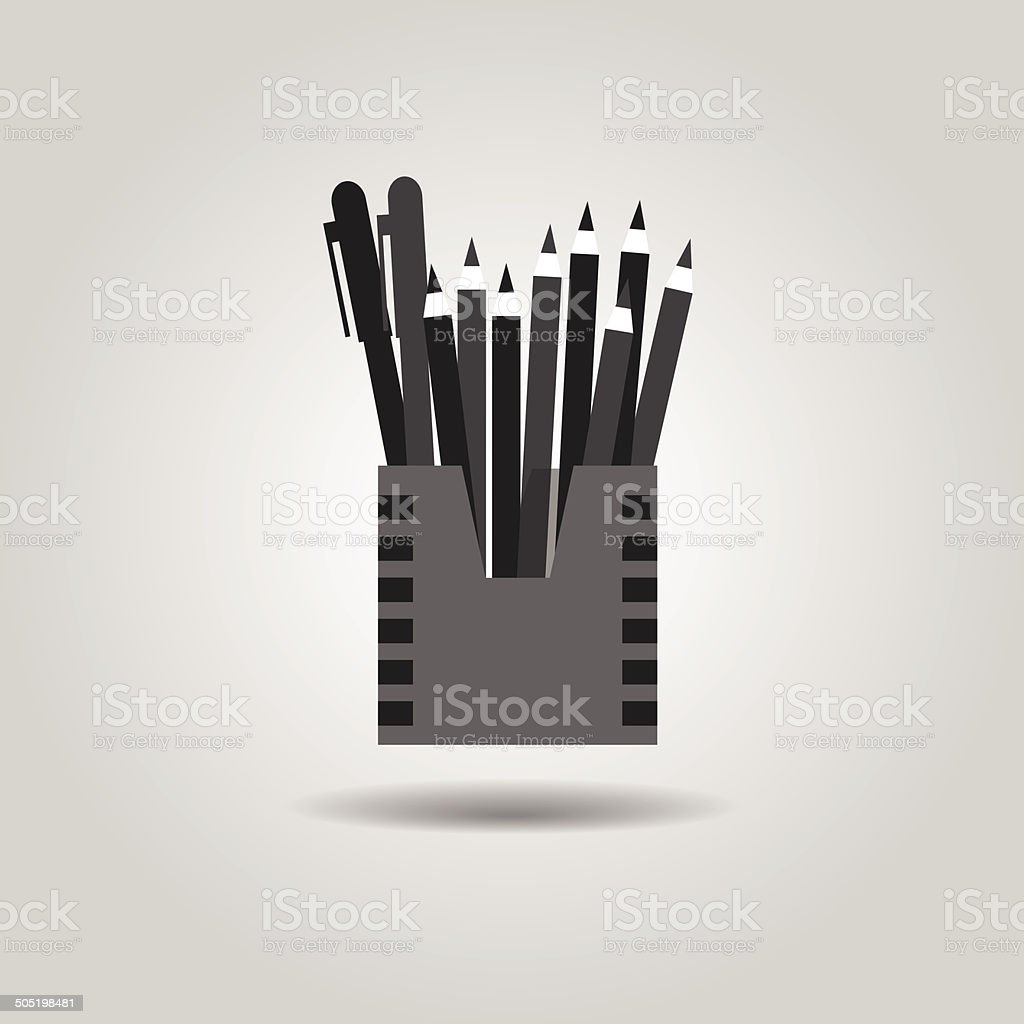Pencil holder and organizer box icon vector art illustration