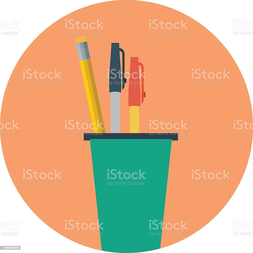 Pencil Holder Colored Vector Illustration vector art illustration