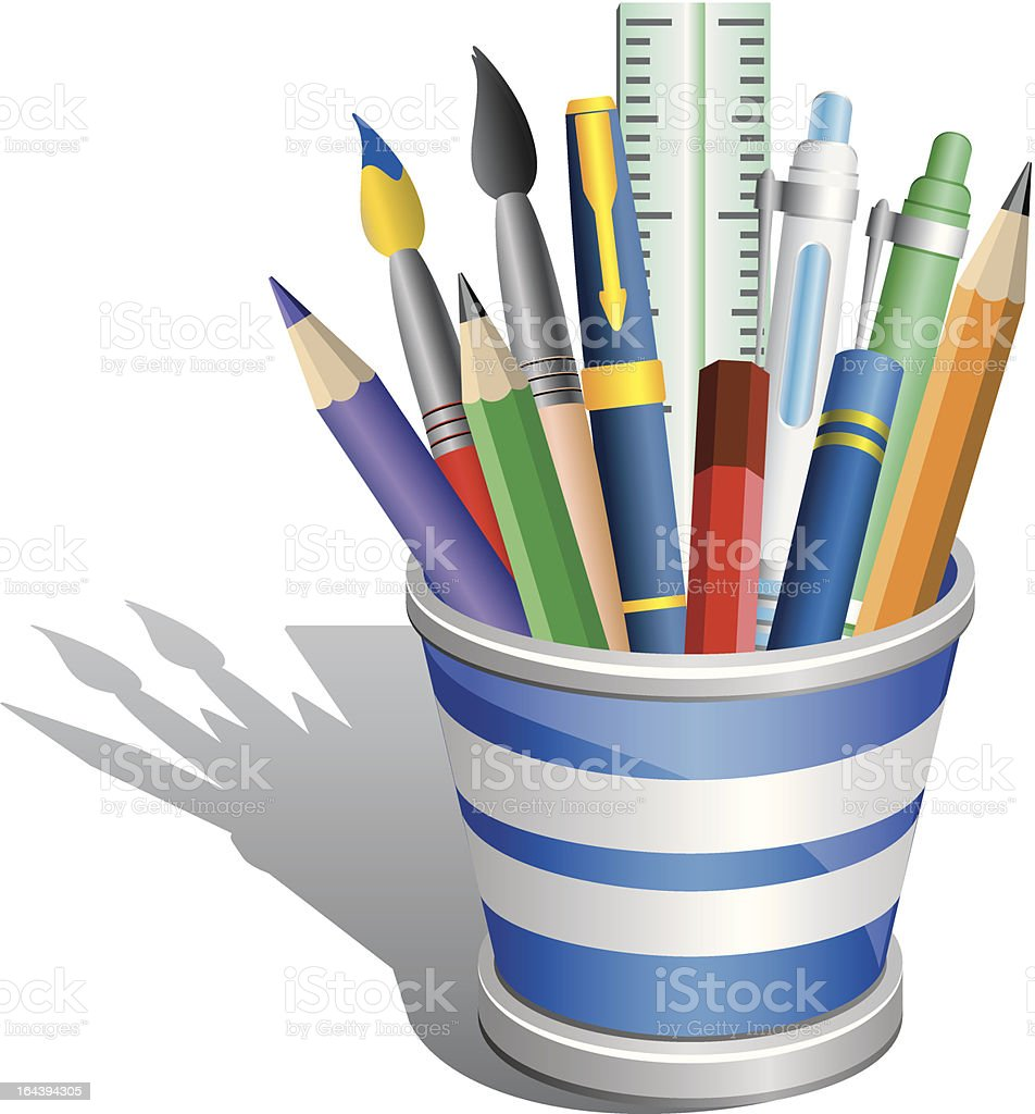 Pencil holder with acessories. vector art illustration