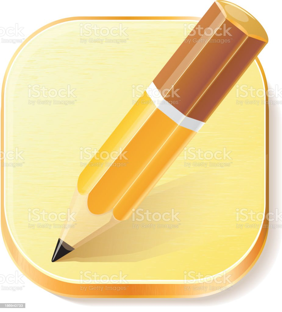 Pencil icon on textured plane royalty-free stock vector art