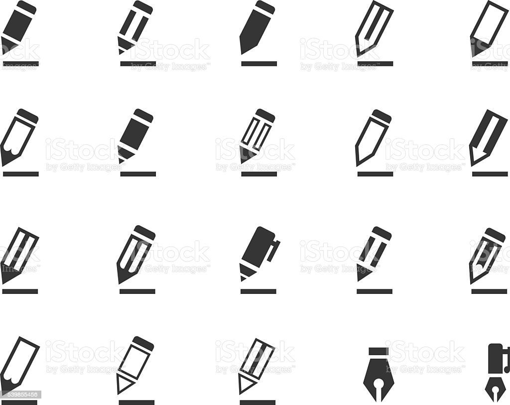 Pencil icon set vector art illustration