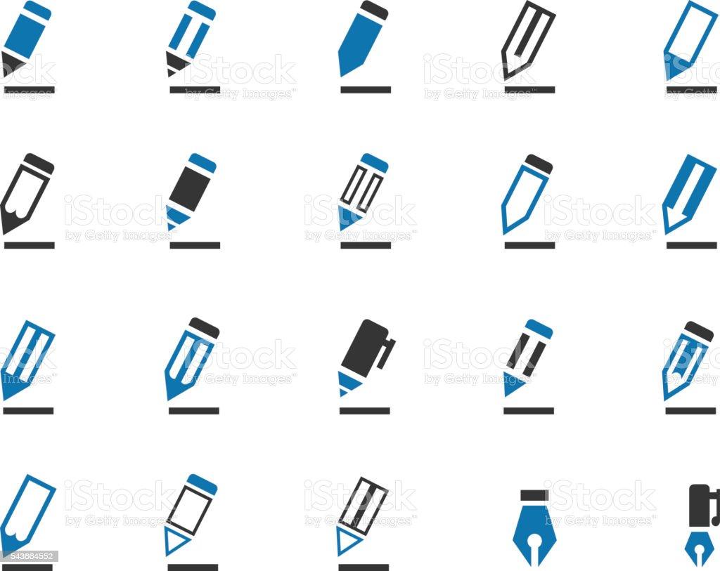 Pencil icon set vector art illustration