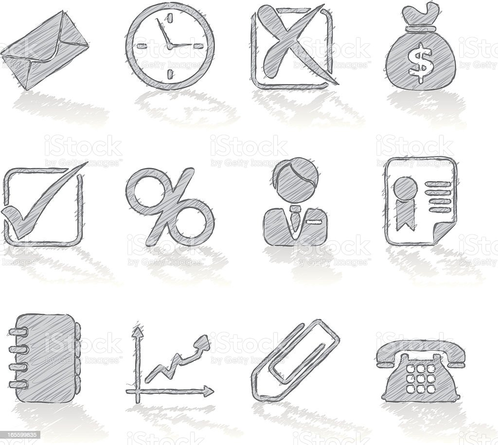 pencil icons - business royalty-free stock vector art