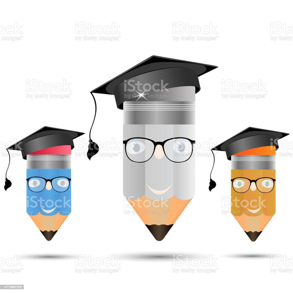 Pencil in glasses. Image of professors, graduate royalty-free stock vector art
