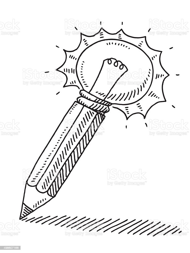 Pencil Light Bulb Idea Concept Drawing vector art illustration