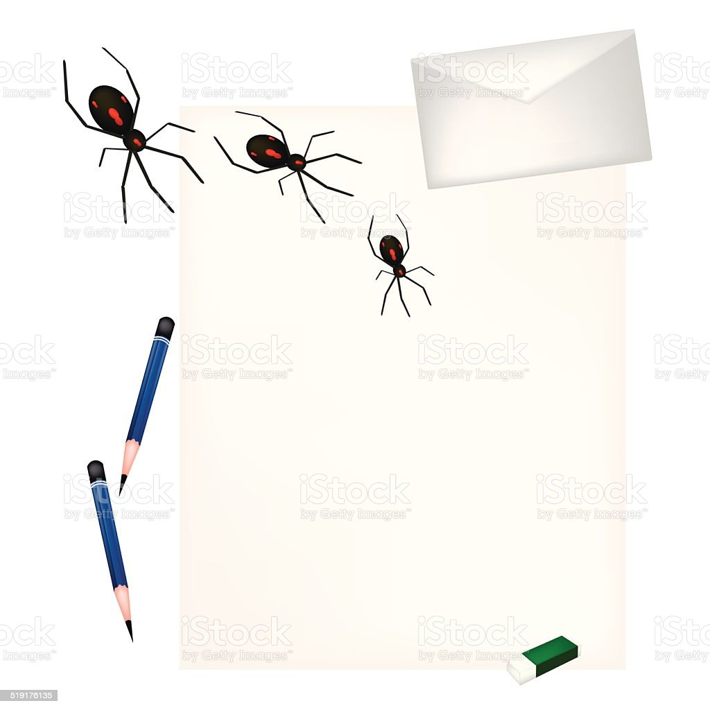 Pencil Lying on Blank Page with Evil Spiders vector art illustration