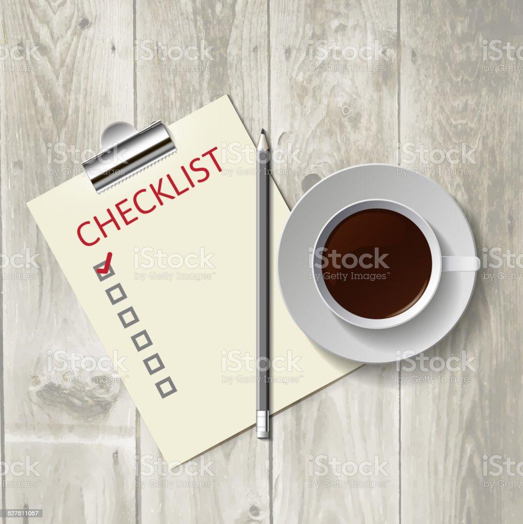 Pencil lying on the list. Morning coffee, work vector art illustration