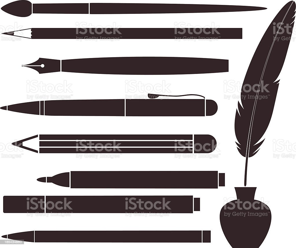 Pencil. Pen. Brush. Feather vector art illustration