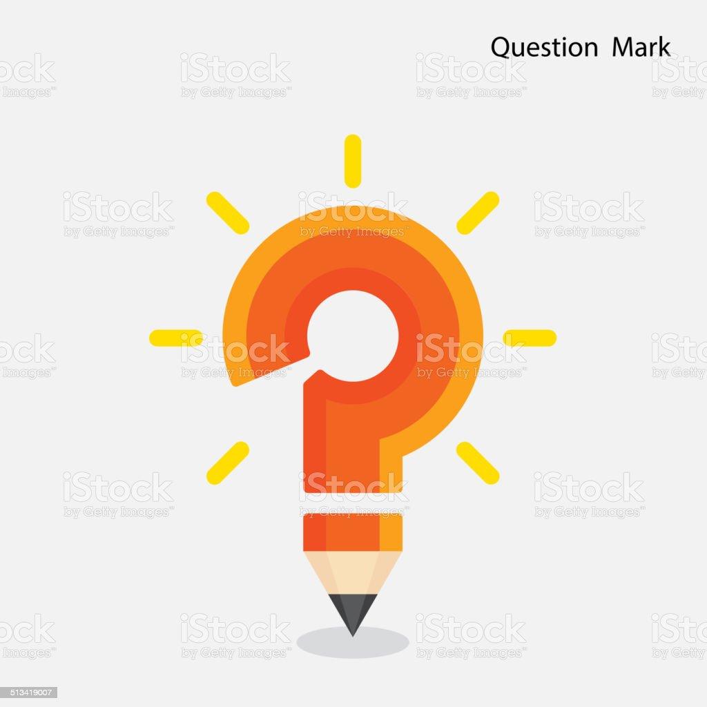 Pencil question mark on background. vector art illustration