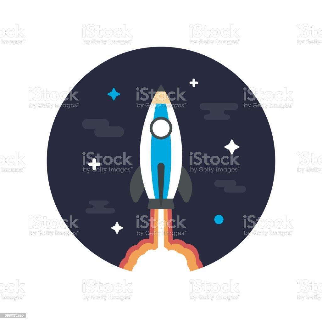 pencil rocket on space vector art illustration