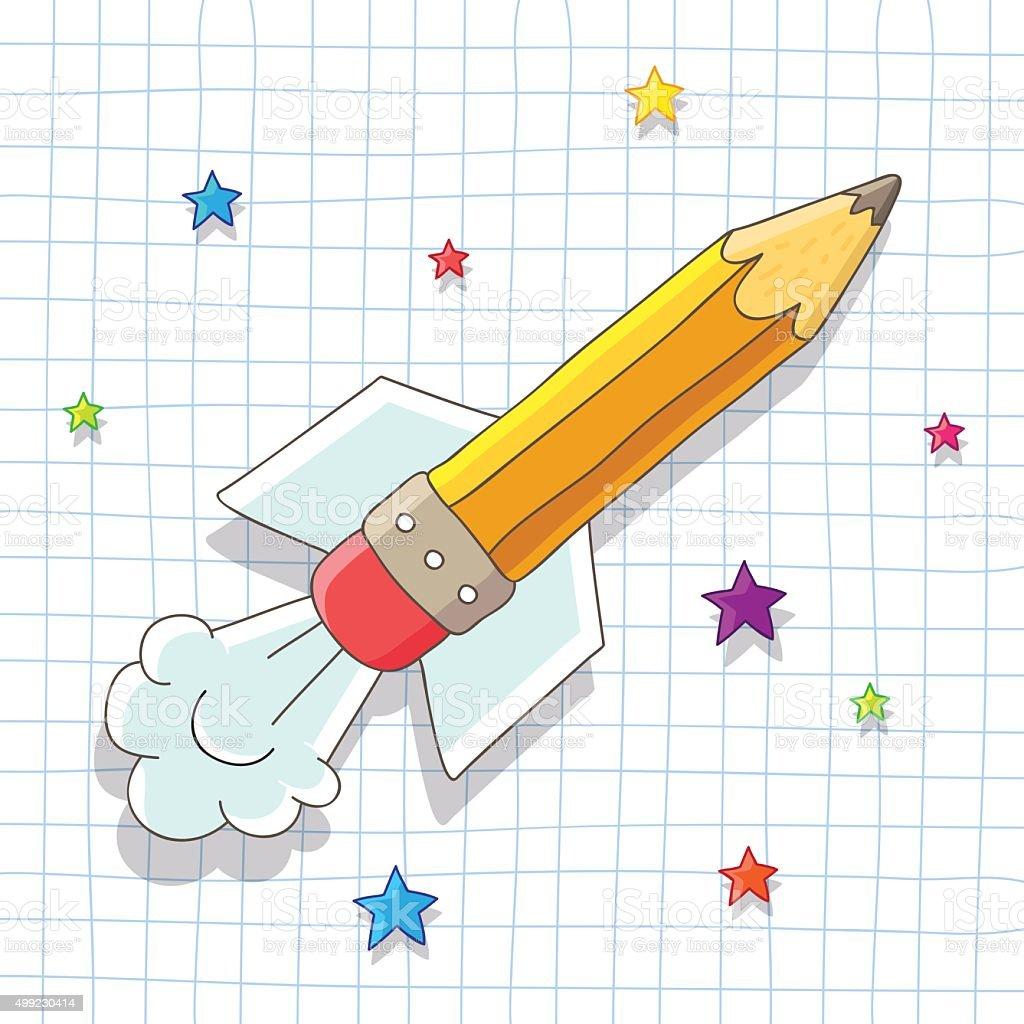 Pencil Rocket soars in the stars vector art illustration