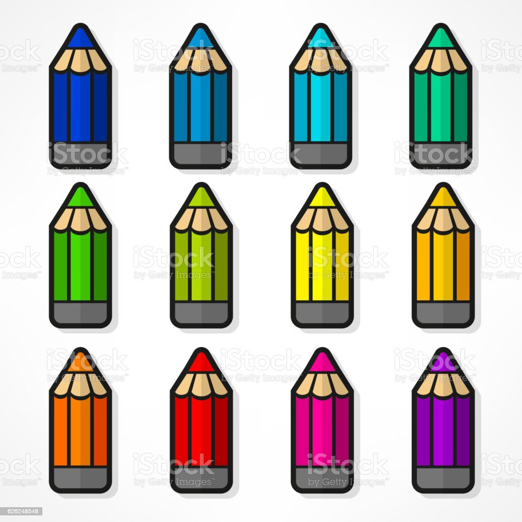 Pencil set Color vector illustration vector art illustration