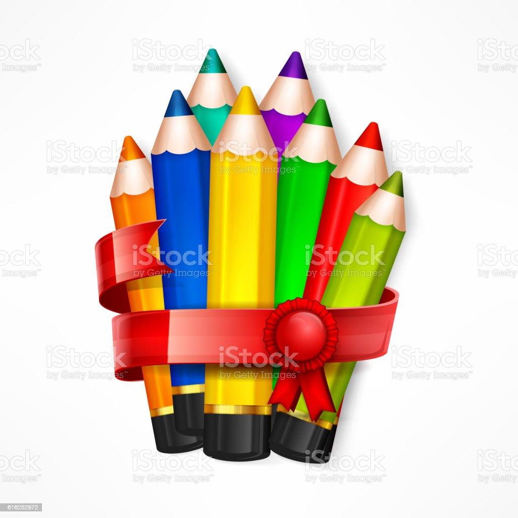 Pencil set. Ribbon vector art illustration