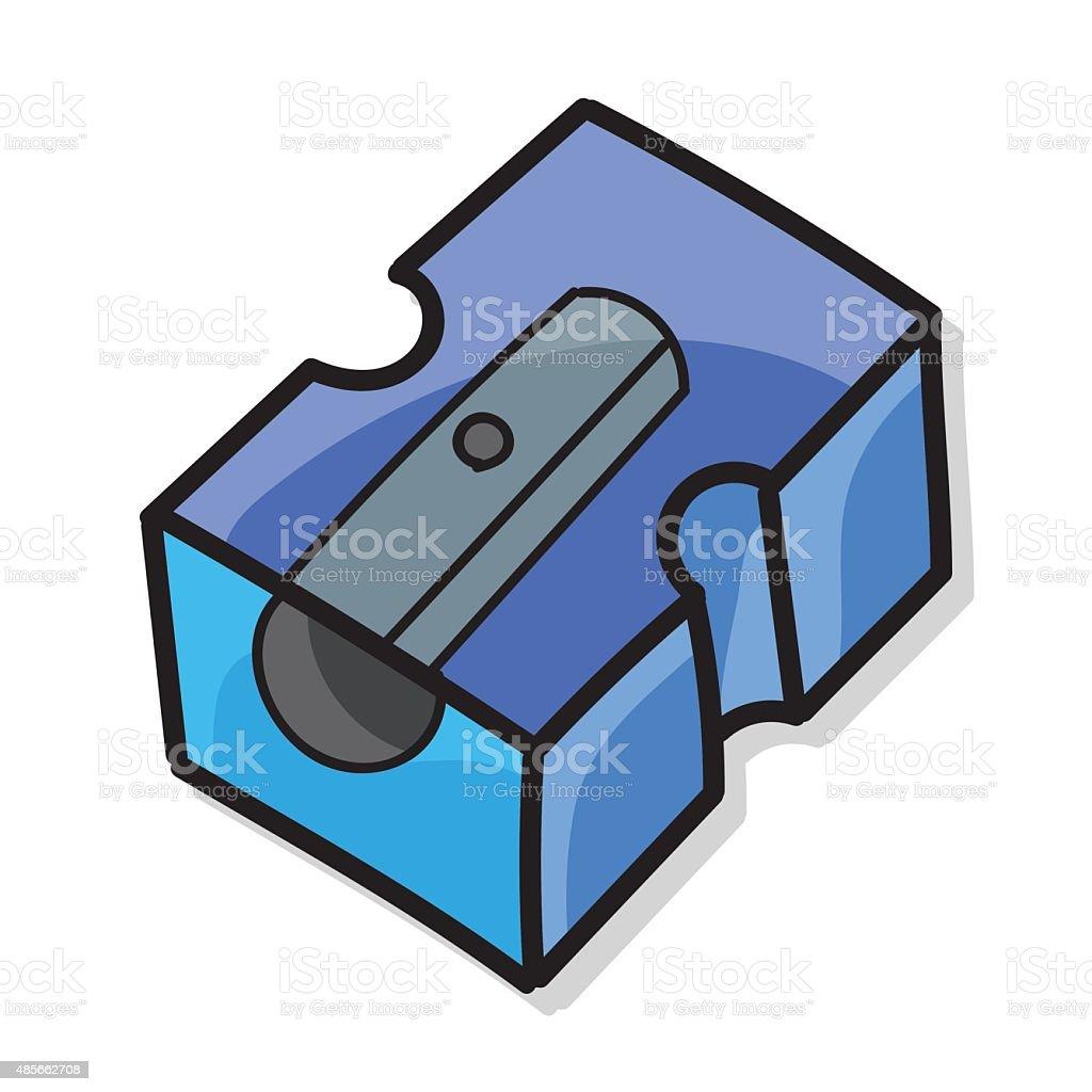 Pencil sharpener color doodle vector art illustration