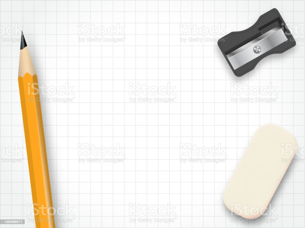 Pencil sharpener rubber vector vector art illustration