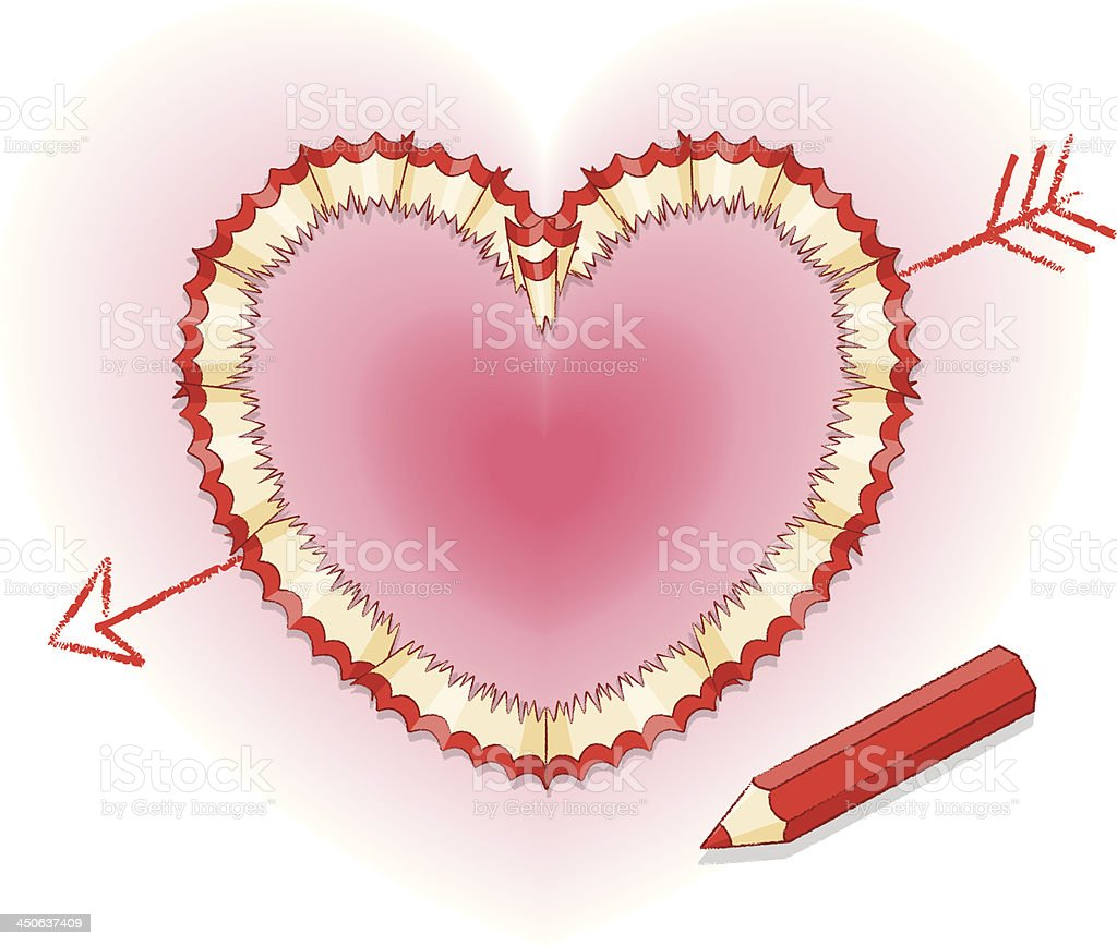 Pencil shavings in Shape of Love Heart with Cupid's Arrow royalty-free stock vector art